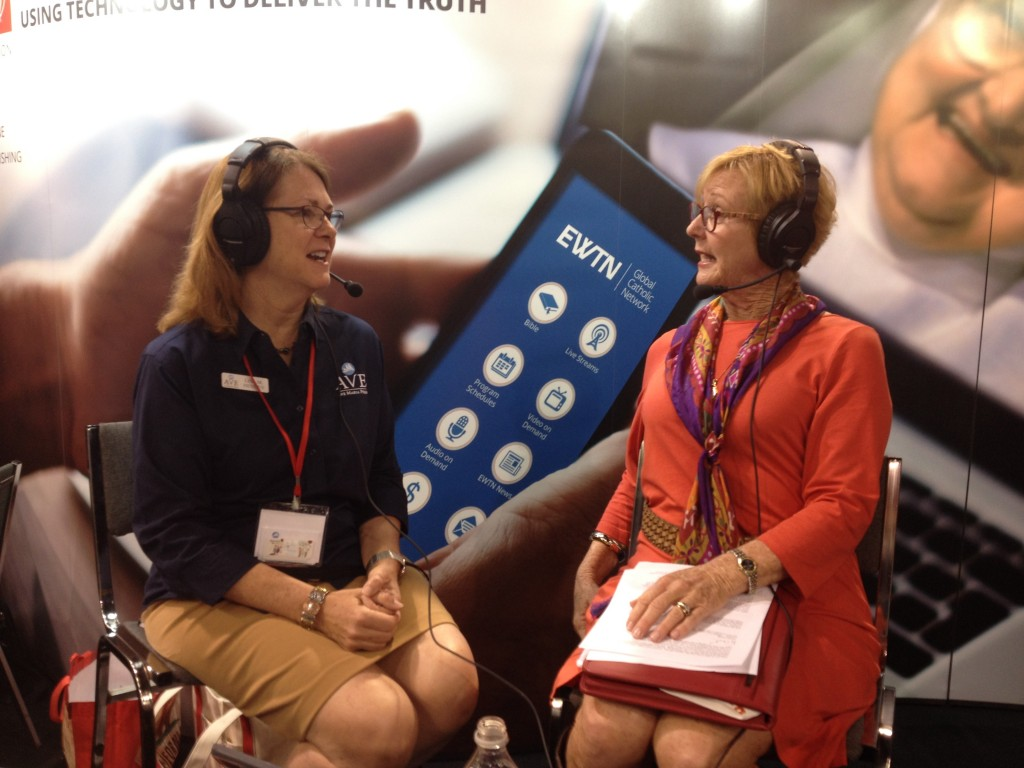 "Lisa interviews with EWTN's Peggy Norbertin of ""Call Me Catholic"" at the Archdiocese of Los Angeles Religious Education Congress, February 2016"
