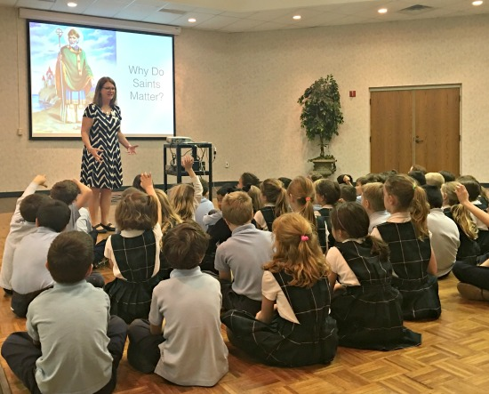 Lisa shares about saints, reading, writing and the joy of storytelling with young readers at St. Agatha's School in Columbus, Ohio