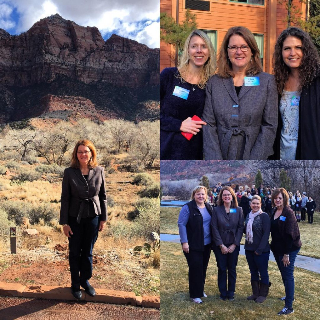 """Lisa with participants of the St. Thomas More parish """"Grace of Yes"""" women's retreat (Zion, January 2016)"""